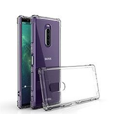 Custodia Silicone Trasparente Ultra Sottile Morbida T02 per Sony Xperia 1 Chiaro