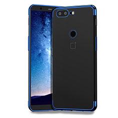 Custodia Silicone Trasparente Ultra Sottile Morbida T04 per OnePlus 5T A5010 Blu