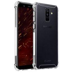 Custodia Silicone Trasparente Ultra Sottile Morbida T04 per Samsung Galaxy A6 Plus Chiaro