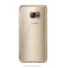 Custodia Silicone Trasparente Ultra Sottile Morbida T04 per Samsung Galaxy S6 Duos SM-G920F G9200 Oro