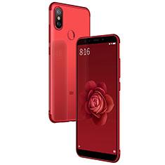 Custodia Silicone Trasparente Ultra Sottile Morbida T04 per Xiaomi Mi 6X Rosso