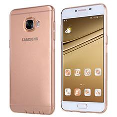 Custodia Silicone Trasparente Ultra Sottile Morbida T06 per Samsung Galaxy C7 SM-C7000 Oro