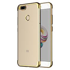 Custodia Silicone Trasparente Ultra Sottile Morbida T06 per Xiaomi Mi A1 Oro