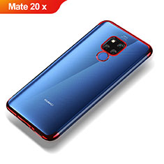 Custodia Silicone Trasparente Ultra Sottile Morbida T07 per Huawei Mate 20 X Rosso