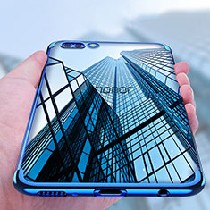 Custodia Silicone Trasparente Ultra Sottile Morbida T10 per Huawei Honor V10 Blu