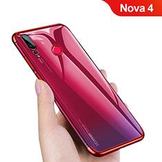 Custodia Silicone Trasparente Ultra Sottile Morbida T10 per Huawei Nova 4 Rosso