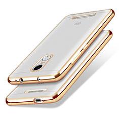 Custodia Silicone Trasparente Ultra Sottile Morbida T10 per Xiaomi Redmi Note 3 Oro