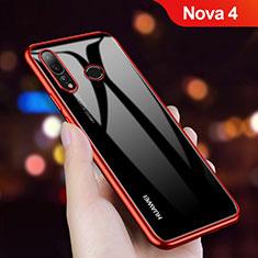 Custodia Silicone Trasparente Ultra Sottile Morbida T11 per Huawei Nova 4 Rosso