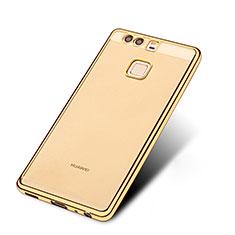 Custodia Silicone Trasparente Ultra Sottile Morbida T11 per Huawei P9 Plus Oro