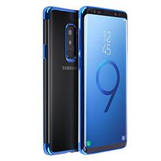 Custodia Silicone Trasparente Ultra Sottile Morbida T18 per Samsung Galaxy S9 Plus Blu