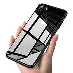 Custodia Silicone Trasparente Ultra Sottile Morbida T19 per Apple iPhone 7 Nero