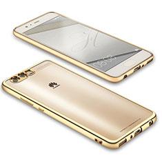 Custodia Silicone Trasparente Ultra Sottile Morbida U02 per Huawei P10 Oro