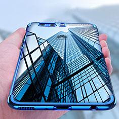 Custodia Silicone Trasparente Ultra Sottile Morbida U03 per Huawei P10 Blu