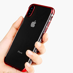 Custodia Silicone Trasparente Ultra Sottile Morbida V11 per Apple iPhone Xs Max Rosso