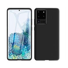 Custodia Silicone Ultra Sottile Morbida 360 Gradi Cover C01 per Samsung Galaxy S20 Ultra 5G Nero