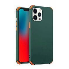 Custodia Silicone Ultra Sottile Morbida 360 Gradi Cover C03 per Apple iPhone 12 Pro Max Verde Notte
