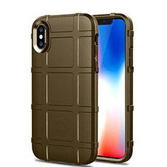Custodia Silicone Ultra Sottile Morbida 360 Gradi Cover per Apple iPhone Xs Max Marrone