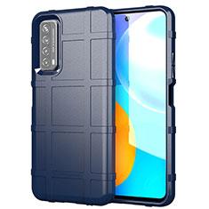 Custodia Silicone Ultra Sottile Morbida 360 Gradi Cover per Huawei Y7a Blu