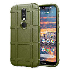 Custodia Silicone Ultra Sottile Morbida 360 Gradi Cover per Nokia 4.2 Verde Militare