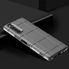 Custodia Silicone Ultra Sottile Morbida 360 Gradi Cover per Sony Xperia 5 Argento