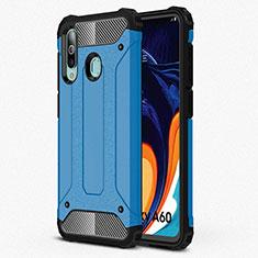 Custodia Silicone Ultra Sottile Morbida 360 Gradi Cover S01 per Samsung Galaxy A60 Cielo Blu
