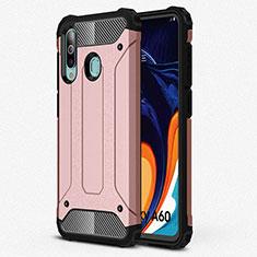 Custodia Silicone Ultra Sottile Morbida 360 Gradi Cover S01 per Samsung Galaxy A60 Oro Rosa