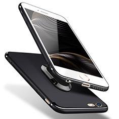 Custodia Silicone Ultra Sottile Morbida con Anello Supporto A02 per Apple iPhone 5S Nero