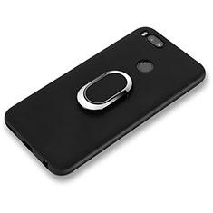 Custodia Silicone Ultra Sottile Morbida con Anello Supporto A02 per Xiaomi Mi 6 Nero