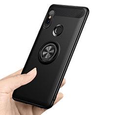 Custodia Silicone Ultra Sottile Morbida con Anello Supporto A02 per Xiaomi Redmi Note 5 AI Dual Camera Nero