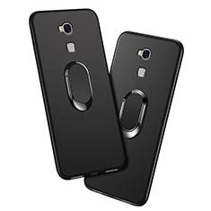Custodia Silicone Ultra Sottile Morbida con Anello Supporto per Huawei Honor 5X Nero