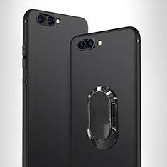 Custodia Silicone Ultra Sottile Morbida con Anello Supporto per Huawei Honor V10 Nero