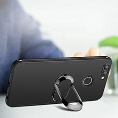 Custodia Silicone Ultra Sottile Morbida con Anello Supporto per Huawei Nova 2 Plus Nero