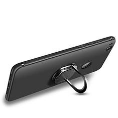 Custodia Silicone Ultra Sottile Morbida con Anello Supporto per Huawei P8 Lite (2017) Nero