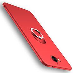 Custodia Silicone Ultra Sottile Morbida con Anello Supporto per Huawei Y6 (2017) Rosso