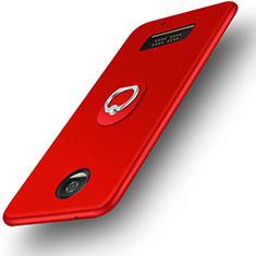 Custodia Silicone Ultra Sottile Morbida con Anello Supporto per Motorola Moto Z Play Rosso