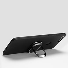Custodia Silicone Ultra Sottile Morbida con Anello Supporto per Xiaomi Mi A1 Nero