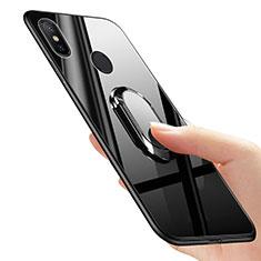 Custodia Silicone Ultra Sottile Morbida con Anello Supporto per Xiaomi Mi Mix 2S Nero