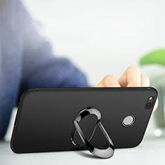 Custodia Silicone Ultra Sottile Morbida con Anello Supporto per Xiaomi Redmi 4A Nero