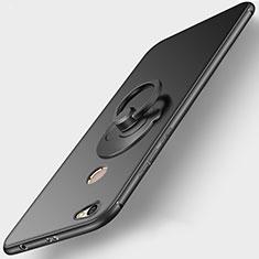 Custodia Silicone Ultra Sottile Morbida con Anello Supporto per Xiaomi Redmi Note 5A High Edition Nero