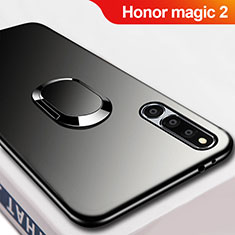 Custodia Silicone Ultra Sottile Morbida con Magnetico Anello Supporto A02 per Huawei Honor Magic 2 Nero