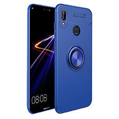 Custodia Silicone Ultra Sottile Morbida con Magnetico Anello Supporto A02 per Huawei P Smart+ Plus Blu