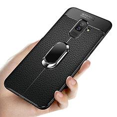 Custodia Silicone Ultra Sottile Morbida con Magnetico Anello Supporto A02 per Samsung Galaxy A6 Plus Nero