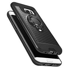 Custodia Silicone Ultra Sottile Morbida con Magnetico Anello Supporto A02 per Samsung Galaxy S7 Edge G935F Nero