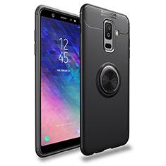 Custodia Silicone Ultra Sottile Morbida con Magnetico Anello Supporto A03 per Samsung Galaxy A6 Plus (2018) Nero