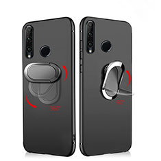 Custodia Silicone Ultra Sottile Morbida con Magnetico Anello Supporto per Huawei Honor 20 Lite Nero