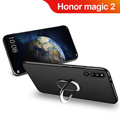 Custodia Silicone Ultra Sottile Morbida con Magnetico Anello Supporto per Huawei Honor Magic 2 Nero
