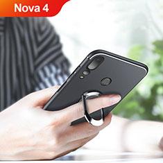 Custodia Silicone Ultra Sottile Morbida con Magnetico Anello Supporto per Huawei Nova 4 Nero