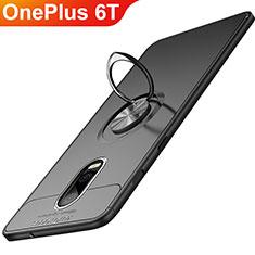 Custodia Silicone Ultra Sottile Morbida con Magnetico Anello Supporto per OnePlus 6T Nero
