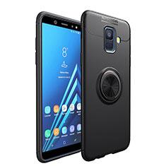 Custodia Silicone Ultra Sottile Morbida con Magnetico Anello Supporto per Samsung Galaxy A6 (2018) Dual SIM Nero