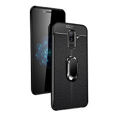 Custodia Silicone Ultra Sottile Morbida con Magnetico Anello Supporto per Samsung Galaxy A6 Plus (2018) Nero